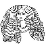 Young beautiful girl with long hair. Line art element for adult coloring book page design Royalty Free Stock Photography
