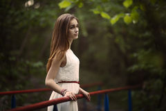 Young beautiful girl with long hair Royalty Free Stock Image