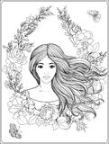 Young beautiful girl with long hair in rich decorated floral pat. Terned frame. Stock line vector illustration. Outline drawing. Outline hand drawing coloring Stock Photo