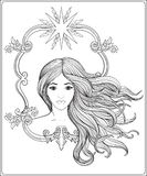 Young beautiful girl with long hair. Stock line vector. Illustration. Outline drawing. Outline hand drawing coloring page for the adult coloring book Royalty Free Stock Images