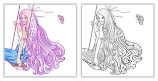 Young beautiful girl with long hair on swing. Stock line vector. Illustration. Colouring page for adult coloring book with sample Royalty Free Stock Image