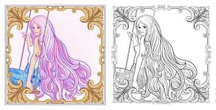 Young beautiful girl with long hair on swing. Stock line vector. Illustration. Colouring page for adult coloring book with sample Stock Photo