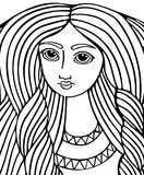 Young beautiful girl with long hair. Line art element for adult coloring book page design Stock Images