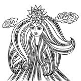 Young beautiful girl with long hair. Line art element for adult coloring book page design Royalty Free Stock Image