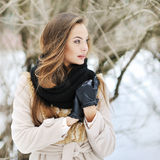 Young beautiful girl looking away - outdoor portrait Royalty Free Stock Photos