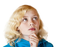 Young beautiful girl looks contemplative Stock Photography