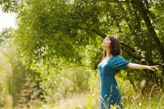 Young beautiful girl on a meadow Stock Images