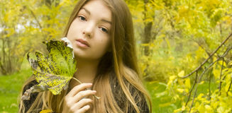 Young beautiful girl in the nature Stock Image