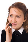 Young beautiful girl operator. On white background royalty free stock photos