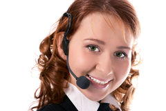 Young beautiful girl operator. On white background stock image