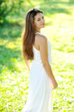 Young beautiful girl outdoor on the field Stock Images