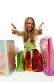 The young beautiful girl with packages Stock Photos