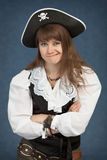 Young beautiful girl the pirate pulls faces Stock Image