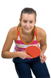 Young beautiful girl playing table tennis Stock Photo