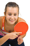 Young beautiful girl playing table tennis Royalty Free Stock Images
