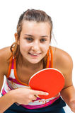 Young beautiful girl playing table tennis Stock Images