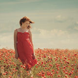 Young beautiful girl in poppy field Stock Photography