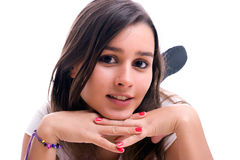 Young beautiful girl portrait. Isolated over white stock images