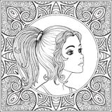 A young beautiful girl.  Portrait on a background of a pattern. Outline hand drawing coloring page for adult coloring book. Stock line vector illustration Royalty Free Stock Photography