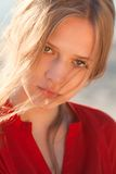Young beautiful girl portrait. Young beautiful model portrait.  Outdoor shoot Royalty Free Stock Images