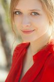 Young beautiful girl portrait. Young beautiful model portrait.  Outdoor shoot Royalty Free Stock Image