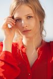Young beautiful girl portrait. Young beautiful model portrait.  Outdoor shoot Stock Image