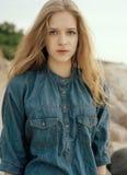 Young beautiful girl portrait. Young beautiful model portrait.  Outdoor shoot Royalty Free Stock Photo