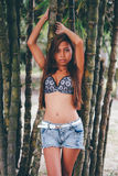 Young beautiful girl posing with the bamoo trees, Hot summer fashion concept Stock Photos
