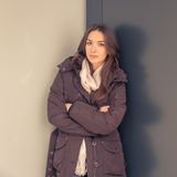 Young beautiful girl posing in the city streets Stock Photography