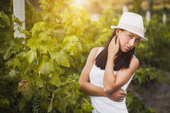 Young beautiful girl posing in fall vineyard Royalty Free Stock Photography