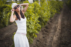 Young beautiful girl posing in fall vineyard Stock Images