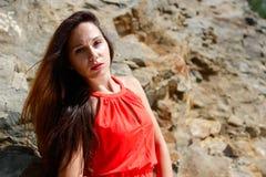 Young beautiful girl posing in nature stock photos