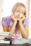 Young beautiful girl reading Stock Photography