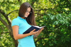 Young beautiful girl reading book in a park Stock Photography