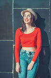 Young beautiful girl in red blouse and glasses Stock Photography
