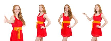 Young beautiful girl in red dress thunms up isolated on white royalty free stock images