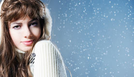 Young beautiful girl rejoices to snow Stock Image