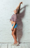 Young beautiful girl in shirt and shorts on a background of a br Royalty Free Stock Photography