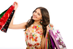 Young beautiful girl with shopping bags Royalty Free Stock Photo