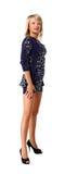 Young beautiful girl in a short blue dress Stock Photos