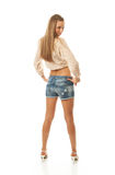 The young beautiful girl in shorts Stock Photo
