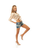 The young beautiful girl in shorts Royalty Free Stock Photo