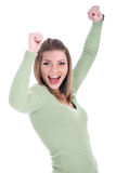 Young beautiful girl showing her joy Royalty Free Stock Image