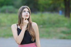 Young beautiful girl shows emotions delight pleasure bliss Royalty Free Stock Images