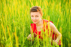 Young beautiful girl sits on meadow Stock Image