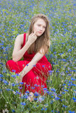 Young beautiful girl sitting in cornflower field, pensive look Stock Photo