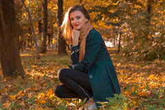 Young beautiful girl sitting in the leaves in autumn Park Royalty Free Stock Photos