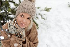 Smile good mood in winter. stock images