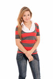 Young beautiful girl standing cheerful isolated Stock Photo