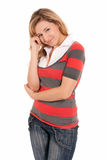 Young beautiful girl standing cheerful isolated Royalty Free Stock Images